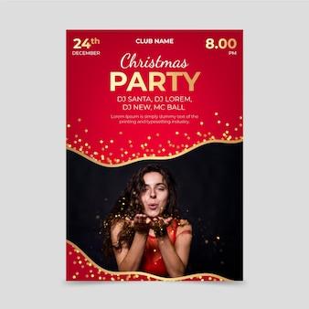 Modello di poster festa di natale con foto