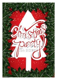 Modello del manifesto della festa di natale con sfondo di rami di pino verde e neve