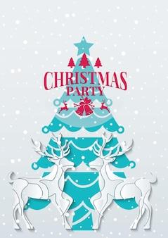Festa di natale con renne in illustrazione vettoriale stile papercut