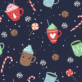 Patern natalizio, tazzine da caffè, biscotti. modello senza cuciture