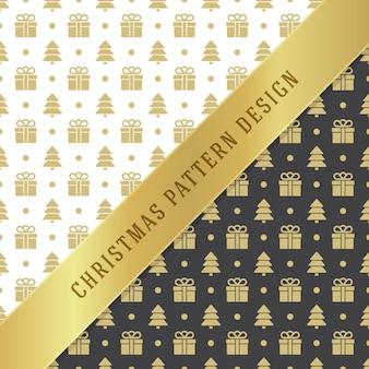 Fondo del modello di natale per carta da imballaggio, cartolina d'auguri e decorazione dell'imballaggio. simboli dorati degli alberi di natale.