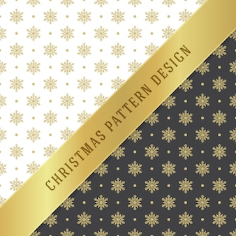 Fondo del modello di natale per carta da imballaggio, cartolina d'auguri e decorazione dell'imballaggio. simboli dorati dei fiocchi di neve.