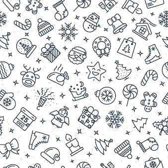 Motivo natalizio composto da icone di linea di natale