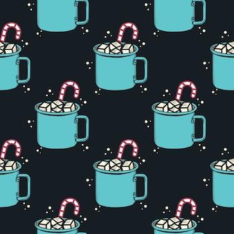 Motivo natalizio, vacanza senza soluzione di continuità con la tazza di cacao. per avvolgere il cartamodello.