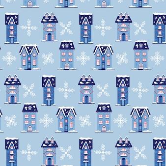 Case invernali con motivo natalizio con fiocchi di neve. sfondo blu di natale per confezioni regalo. illustrazione senza giunte di vettore piatto moderno