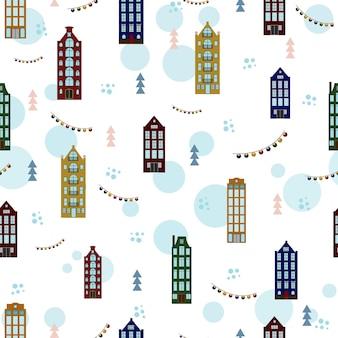 Modello natalizio con case e alberi modello senza cuciture con illustrazione del villaggio invernale