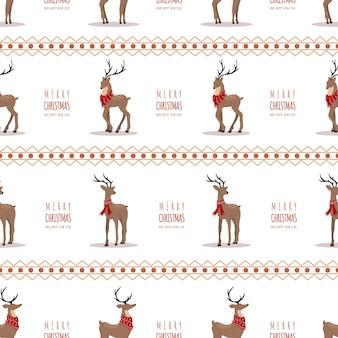 Motivo natalizio con renne. simpatici cervi con corna e sciarpe. stampa invernale.