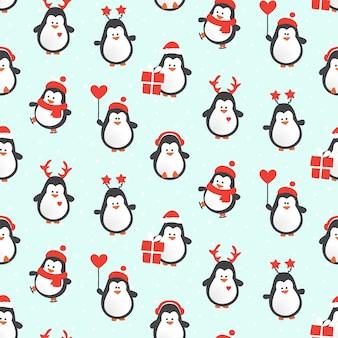 Reticolo senza giunte dei caratteri del pinguino di natale