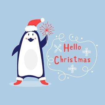 Pinguino di natale con fuochi d'artificio. elementi carini per le vacanze. biglietto di auguri per il nuovo anno ciao natale