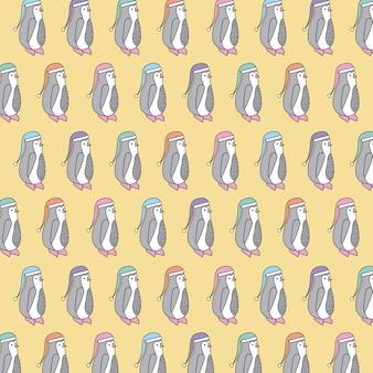 Pinguino di natale con il modello senza cuciture del decoraton del cappello