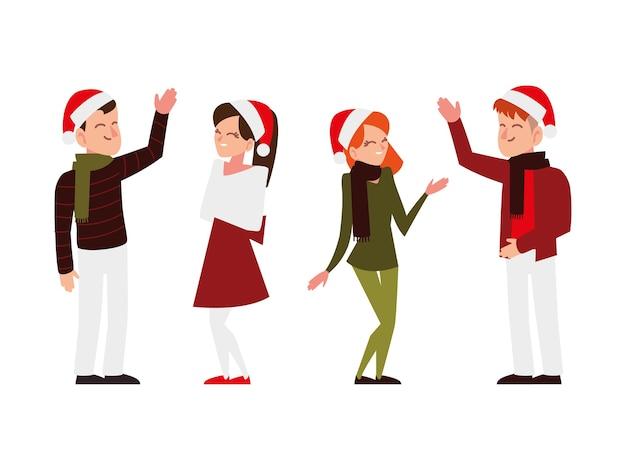 Gente di natale con cappelli di babbo natale che celebra l'illustrazione del partito di stagione