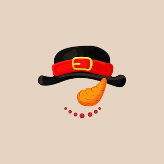 Maschera della cabina di scena della foto di natale con il cappello del pupazzo di neve, carota come naso e sorriso con le bacche. snowman photo booth elements