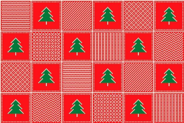 Motivo a pixel natalizio con alberi di natale e ornamenti a scacchi