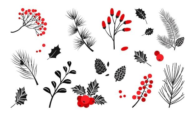 Piante di natale, bacche di agrifoglio, albero di natale, pino, rami di foglie, decorazioni natalizie
