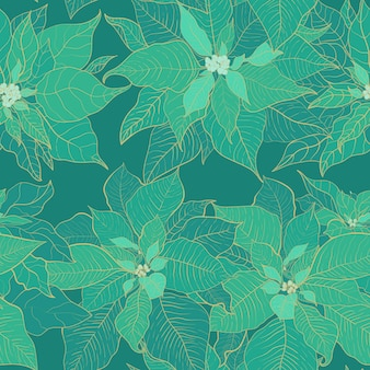 Reticolo senza giunte di natale poinsettia verde. foglie verdi.