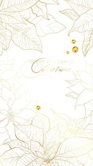 Banner di storie di auguri di natale poinsettia o web card con i migliori auguri in uno stile elegante. la stella di natale di linea dorata lascia su sfondo bianco. decorazioni per feste di natale e capodanno