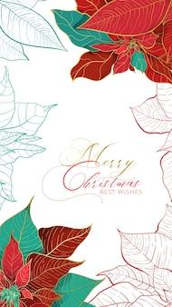 Banner di storie di auguri di natale poinsettia o web card con i migliori auguri in uno stile elegante.