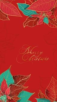 Cartolina d'auguri rossa poinsettia di natale in un'elegante tendenza decorativa.