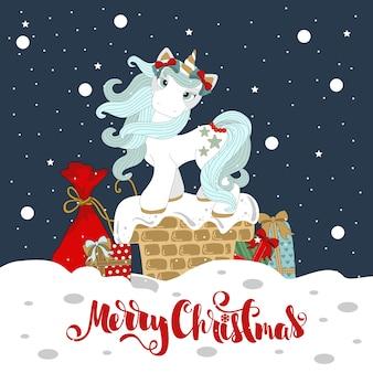Pony di natale su un bellissimo sfondo invernale, fiocchi di neve. con la scritta