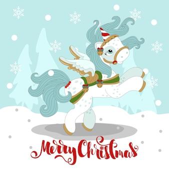 Pony di natale in un bellissimo inverno