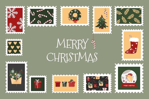 Francobolli di natale con immagini colorate per buste adesivi di capodanno con un albero di natale regali fiocchi di neve