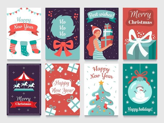 Cartolina di natale. ghirlande su albero di natale, cartoline di felice anno nuovo e pacchetti di carte per le vacanze invernali di dicembre