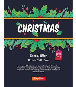 Poster di natale per lo shopping in vendita o promozionale con fogliame di natale