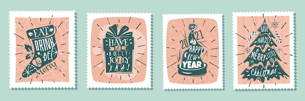 Set di poster di natale. poster di francobolli di natale capodanno