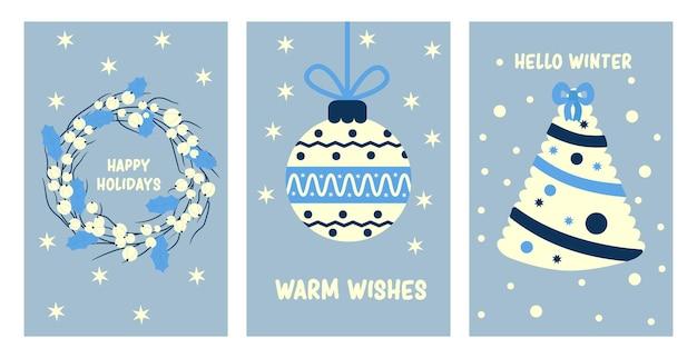 Poster di natale con decorazioni festive. carte di vacanze festive di capodanno. disegni per le vacanze.