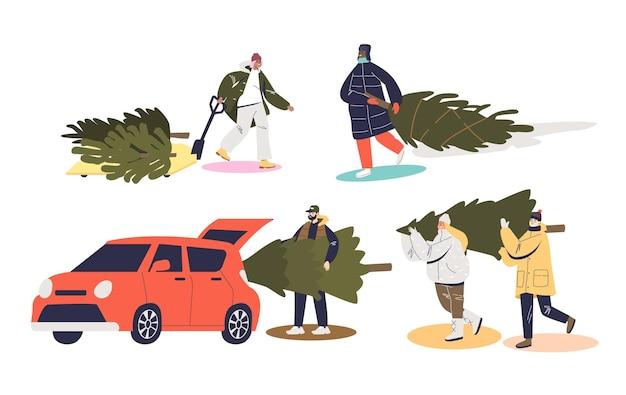Preparazioni natalizie insieme di personaggi dei cartoni animati che comprano e trasportano l'illustrazione degli abeti
