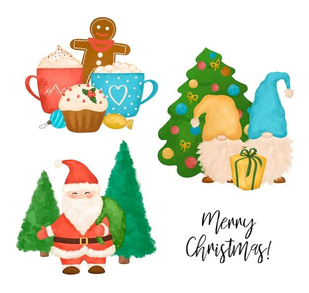 Decorazioni natalizie stampabili set babbo natale e gnomi