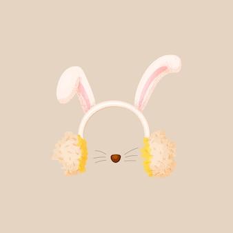 Collezione di maschere per cabine di natale. simpatiche orecchie di lepre dalle orecchie pendenti sulla fascia con naso da coniglio e mustashe.