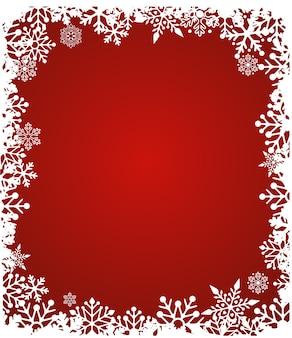 Sfondo natale rosso incorniciato con fiocchi di neve. illustrazione