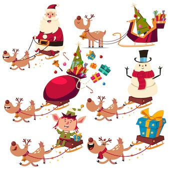 Caratteri di renne di natale, babbo natale, pupazzo di neve ed elfo sulla slitta insieme del fumetto isolato su priorità bassa bianca.