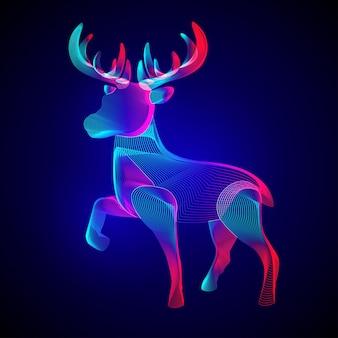Renne di natale. siluetta stilizzata del cervo cornuto in piedi.