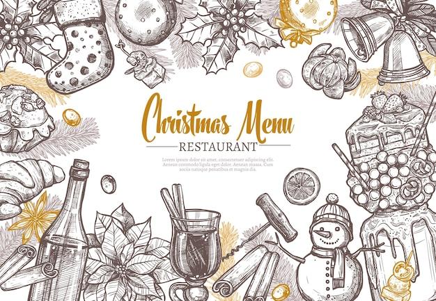Modello di menu festivo del ristorante di natale.