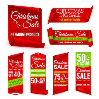 Nastri di natale. banner di vendita di tessuto rosso vacanza di natale con offerte di sconto. etichette di tag di vettore realistico