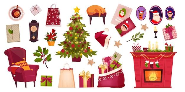 Set invernale di elementi interni della stanza di natale con albero di natale decorato, camino tradizionale, scatole regalo