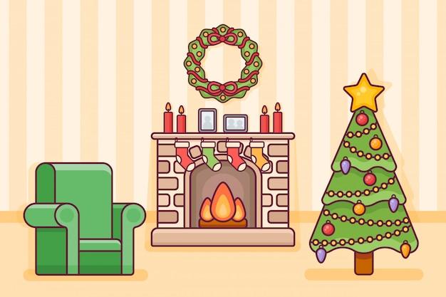 Interiore della stanza di natale con camino, albero, calzini e poltrona. decorazioni natalizie in stile linea piatta.