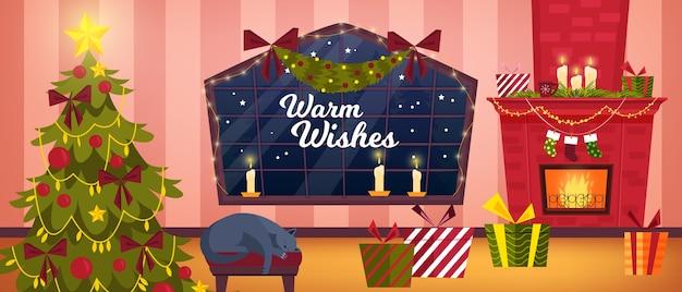 Interiore di inverno della stanza di natale con soggiorno, camino, albero di natale, gatto addormentato, scatola con regali