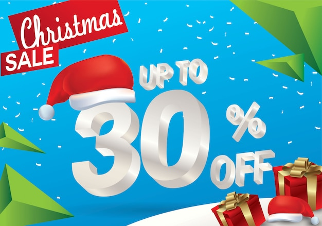 Vendita natalizia del 30 percento. fondo di vendita di inverno con testo del ghiaccio 3d con il cappello santa