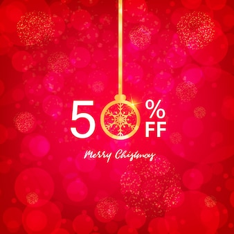 Christmas sale 50% banner, luci natalizie party e oro.