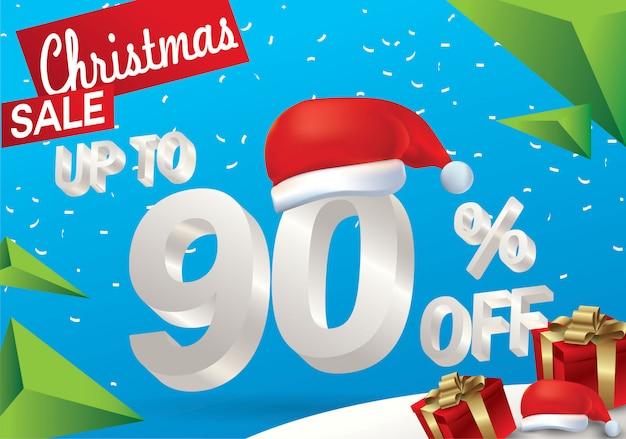 Natale in vendita al 90 percento. fondo di vendita di inverno con testo del ghiaccio 3d con il cappello il babbo natale