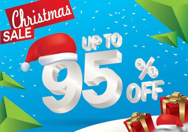 Vendita natalizia del 95 percento. fondo di vendita di inverno con testo del ghiaccio 3d con il cappello il babbo natale