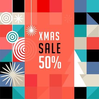 Modello di banner di vendita di natale, stile geometrico scandinavo