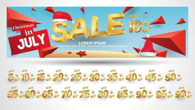 Banner di vendita di natale con tag sconto 10,20,30,40,50,60,70,80,90,99 percento