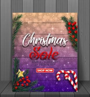 Banner di vendita di natale con banner nastro rosso realistico e scatole regalo.