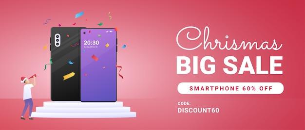 Banner di vendita di natale con illustrazione di smartphone e persone minuscole