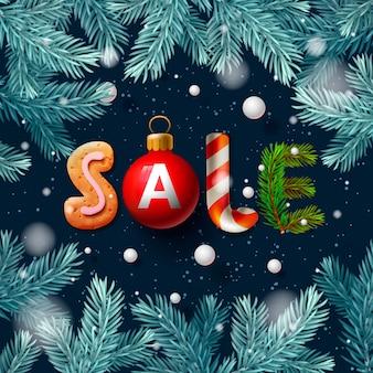 Banner di vendita di natale con formulazione e decorazioni natalizie