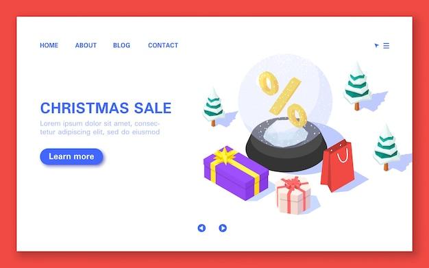 Banner di vendita di natale. palla di natale con confezioni regalo e percentuale su sfondo bianco. isometrico